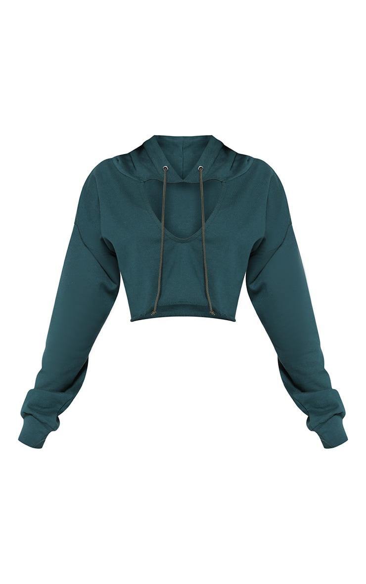 Shape Emerald Green Crop Open Neck Hoodie 3