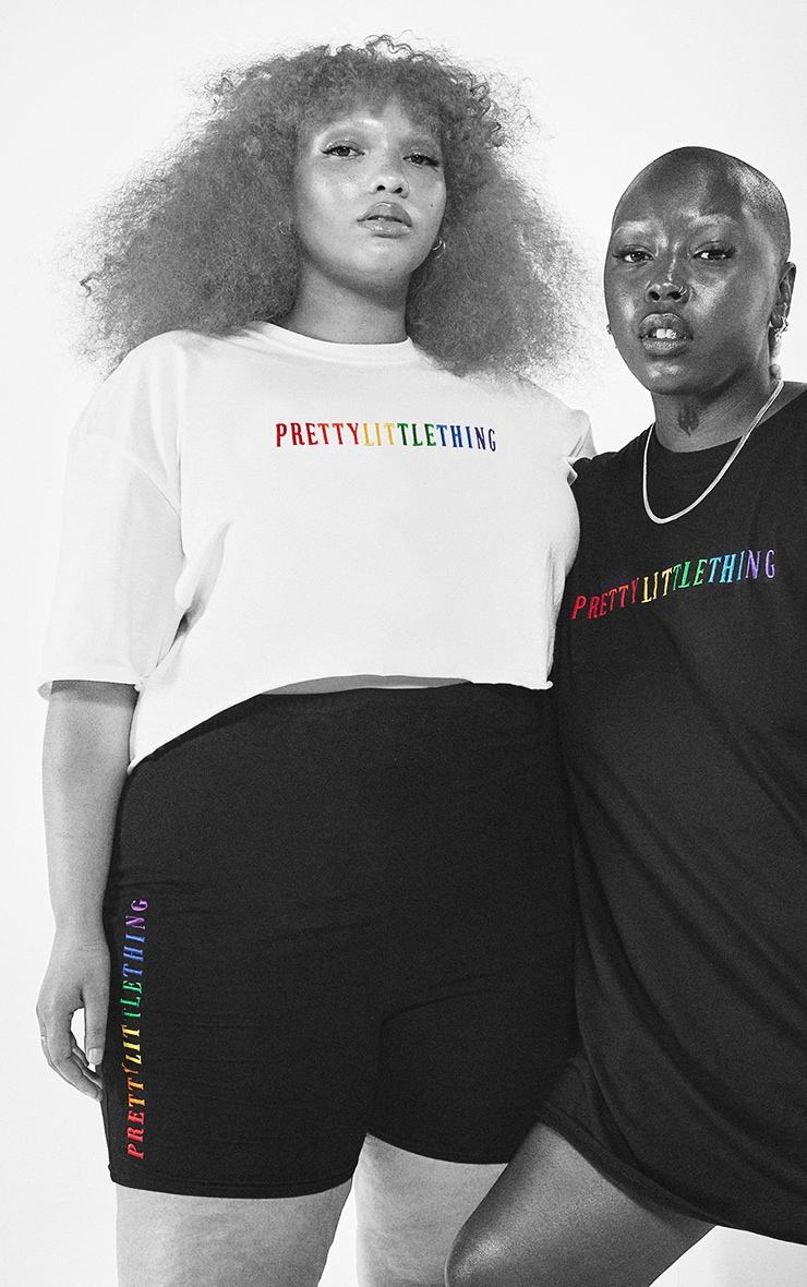 PRETTYLITTLETHING Plus White Pride Crop T Shirt 1