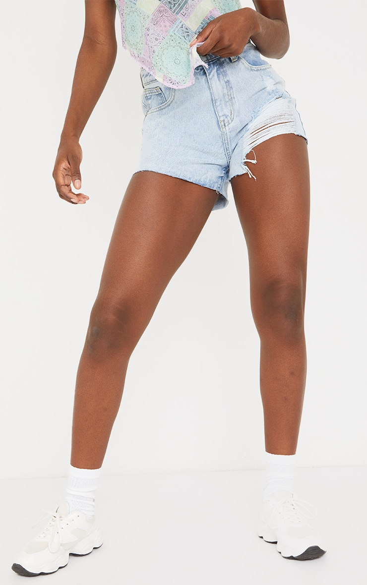 Tall Bleach Wash Ripped Denim Mom Shorts 2