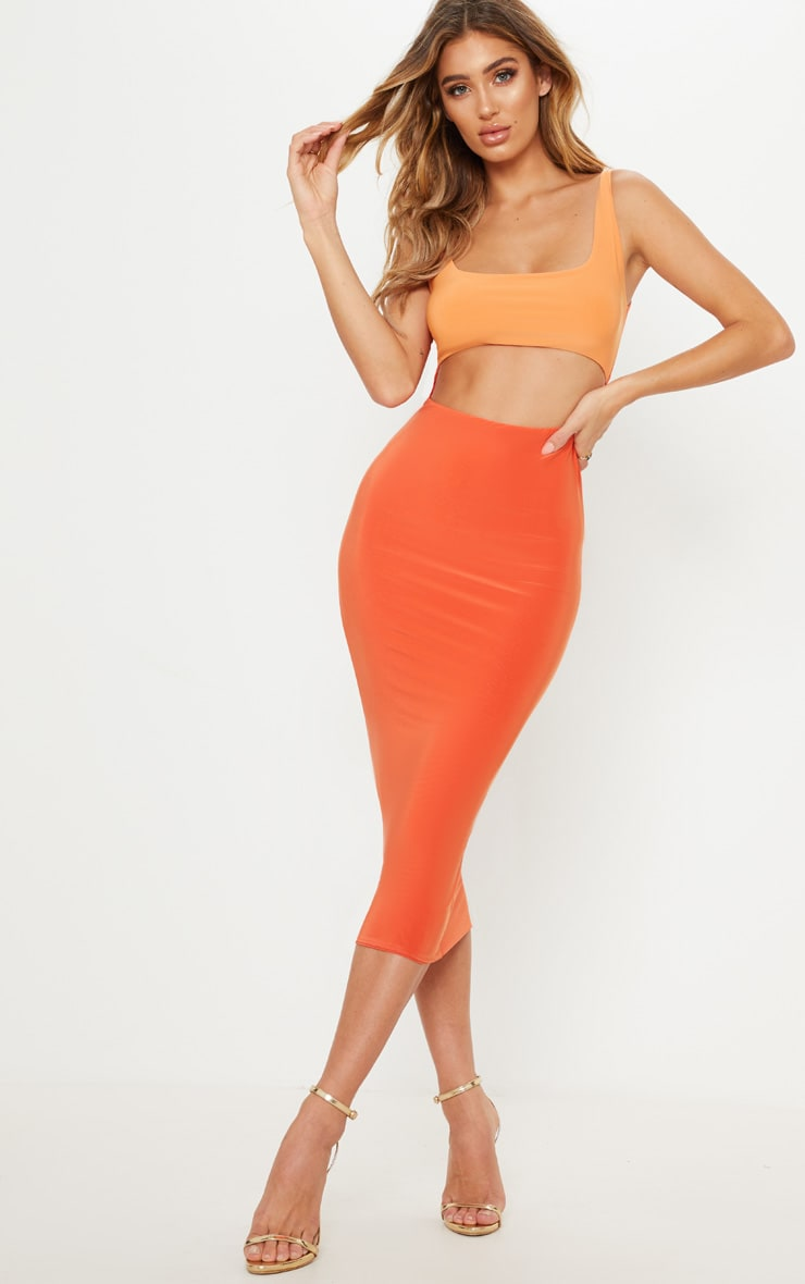 orange-colour-block-cut-out-midaxi-dress by prettylittlething