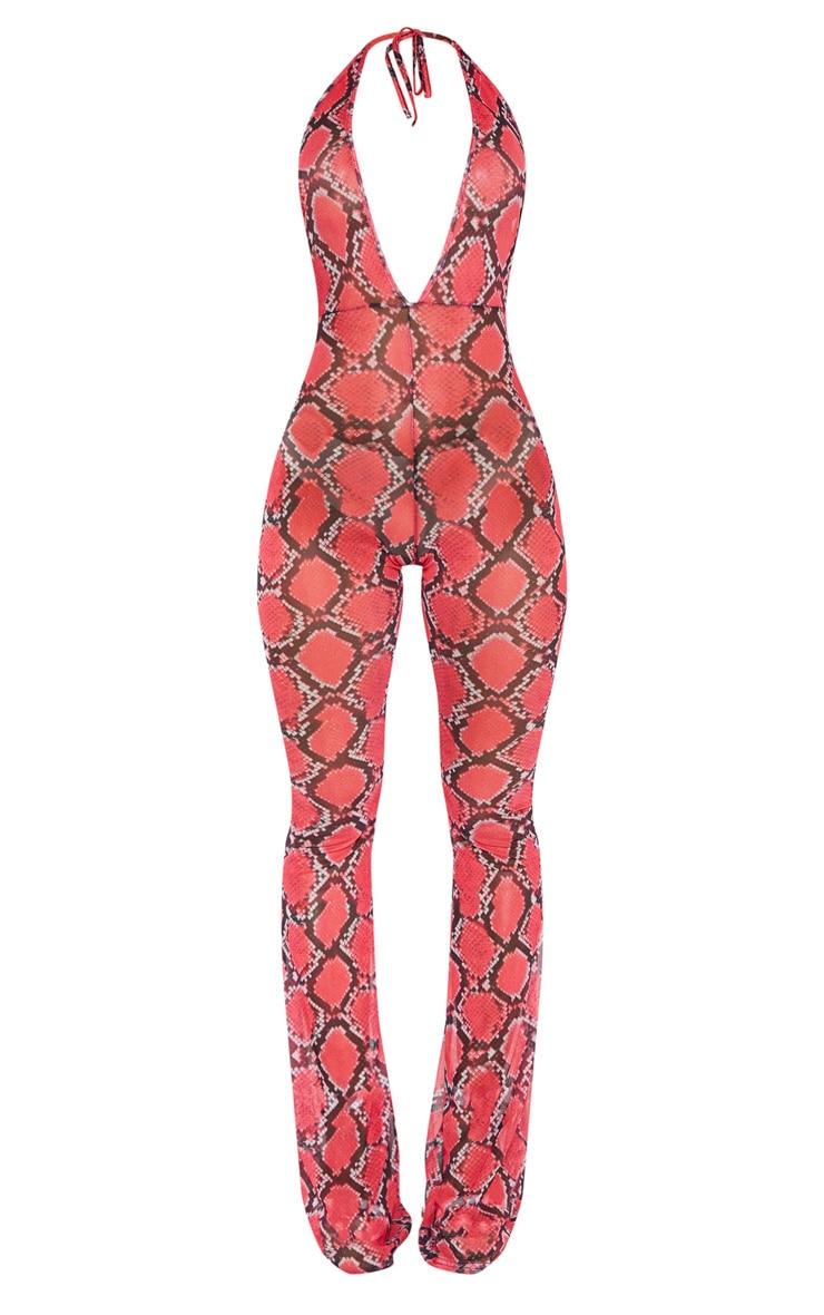 Pink Snake Print Mesh Halterneck Jumpsuit 4