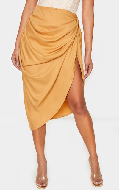Camel Ruched Side Midi Skirt