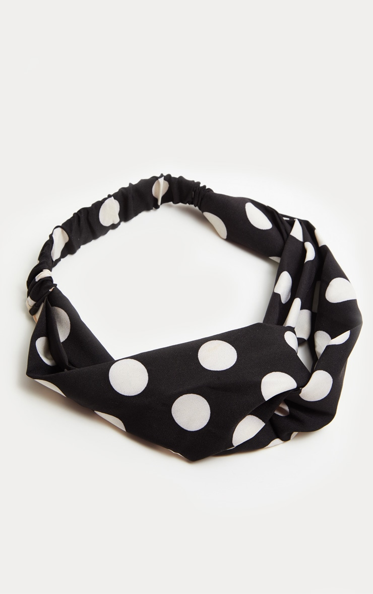 Black Polka Dot Twist Headband 2