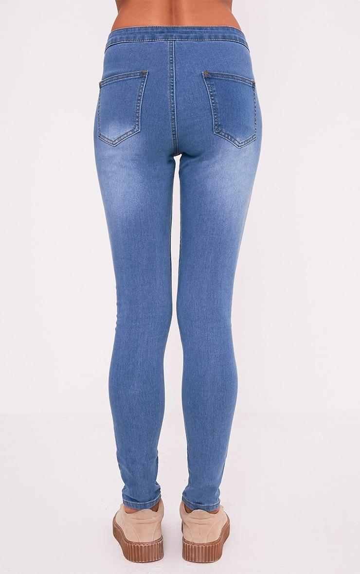 Kylie jean skinny bleu taille moyenne délavage moyen 5
