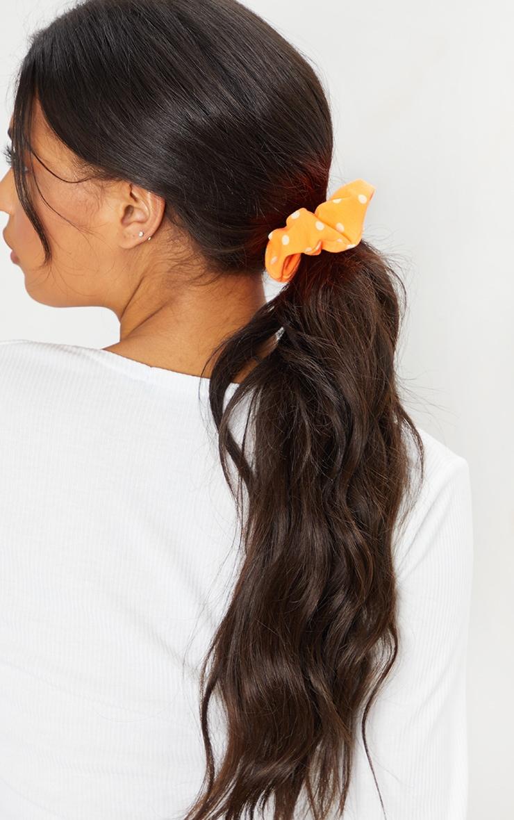 Orange Polka Dot Scrunchie 1