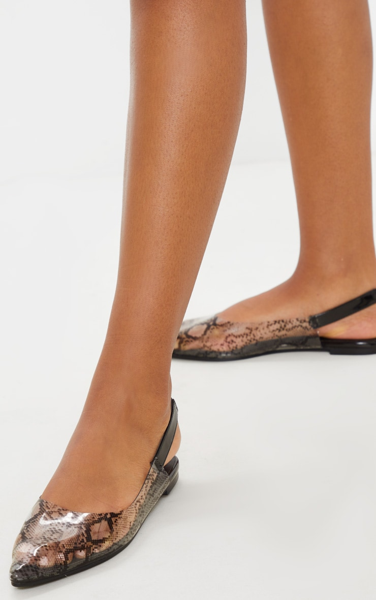 Snake Clear Point Toe Slingback Flat 2