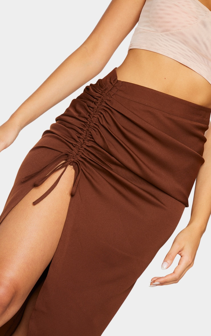Chocolate Woven Ruched Detail Midi Skirt 4