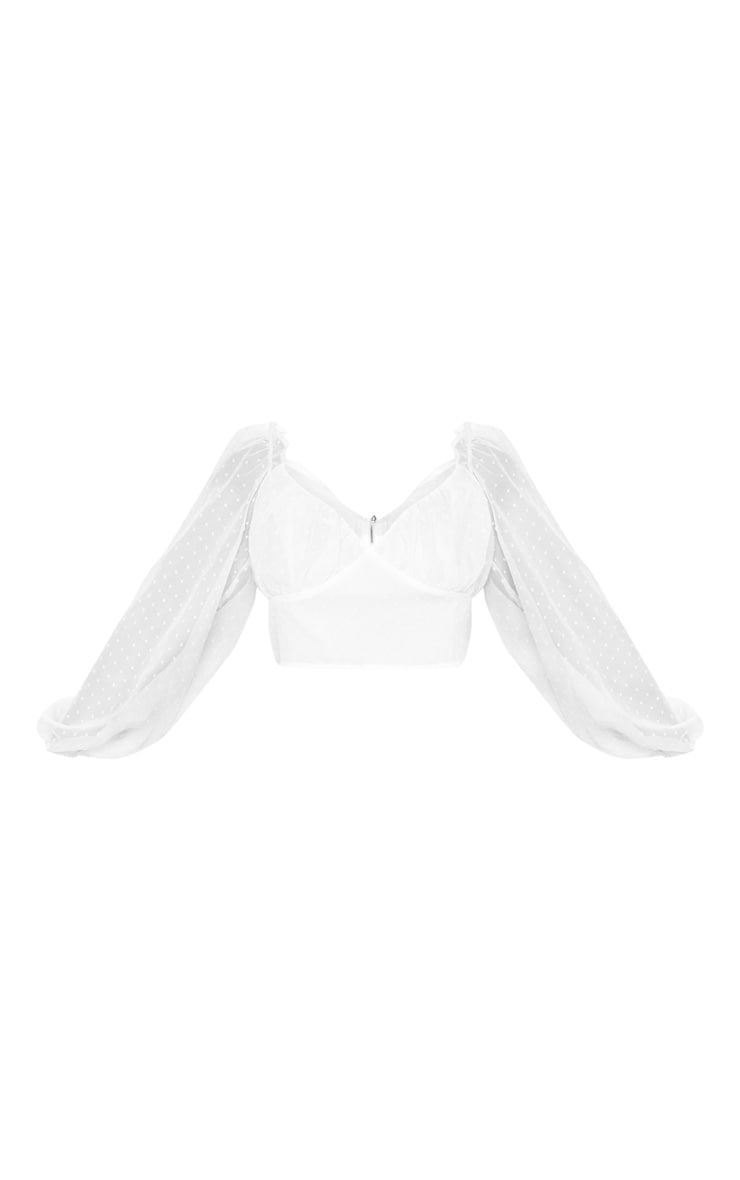Plus White Dobby Mesh Puff Sleeve Crop Top 3