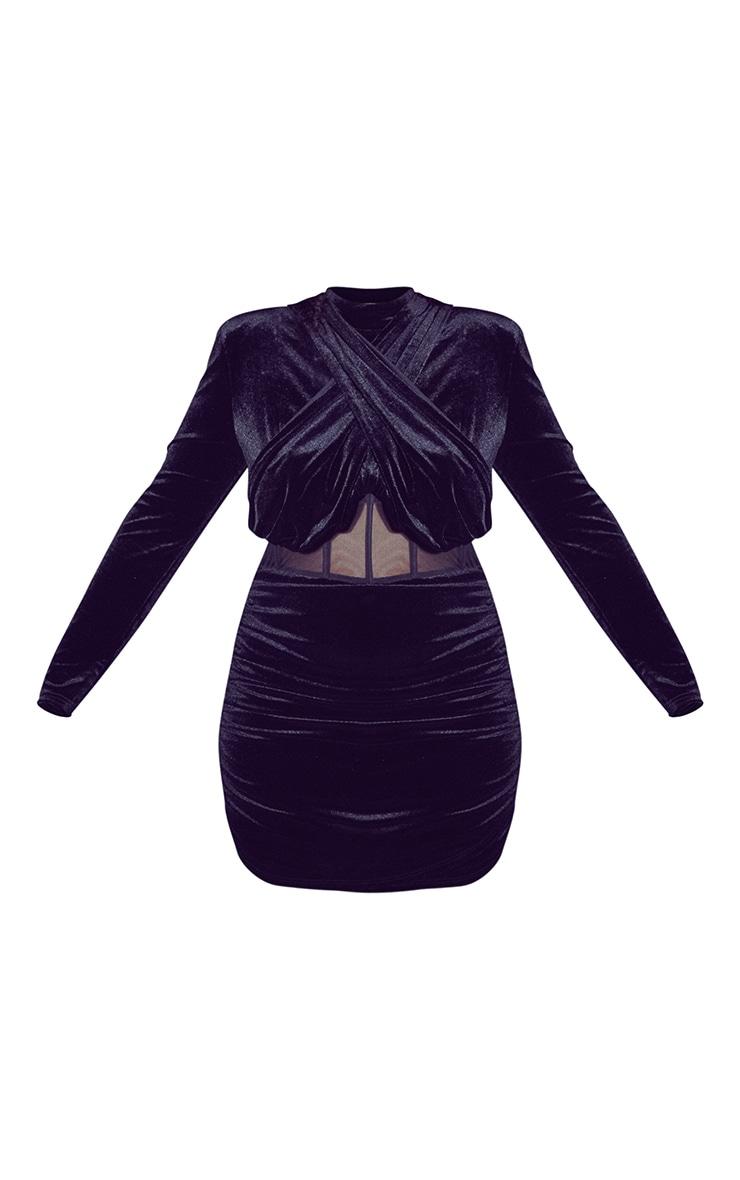 Plus Black Velvet Shoulder Pad Mesh Panel Midi Dress 5