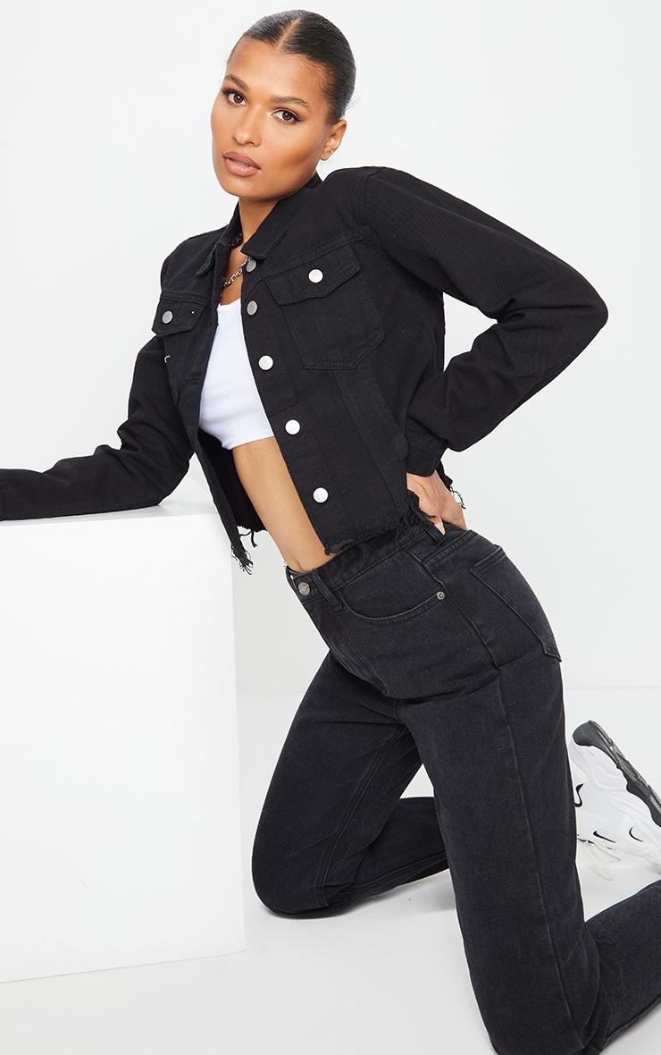 Black Basic Raw Hem Cropped Denim Jacket 3