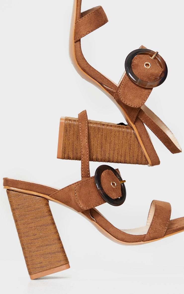 Tan Wood Block Heel Buckle Square Toe Sandals 4