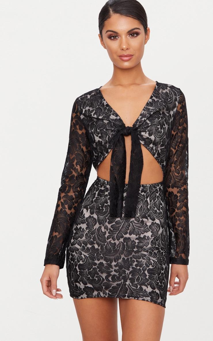 Roxanda lace bodycon dress blush