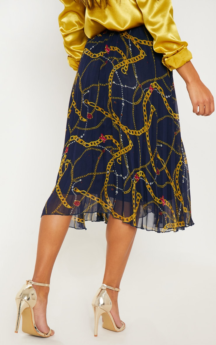 Navy Chain Print Drawstring Waist Pleated Midi Skirt 4
