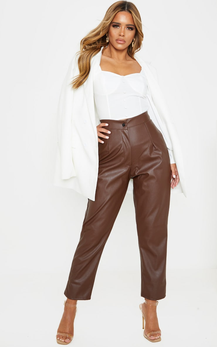 Petite Chocolate Faux Leather Slim Leg Pants 1