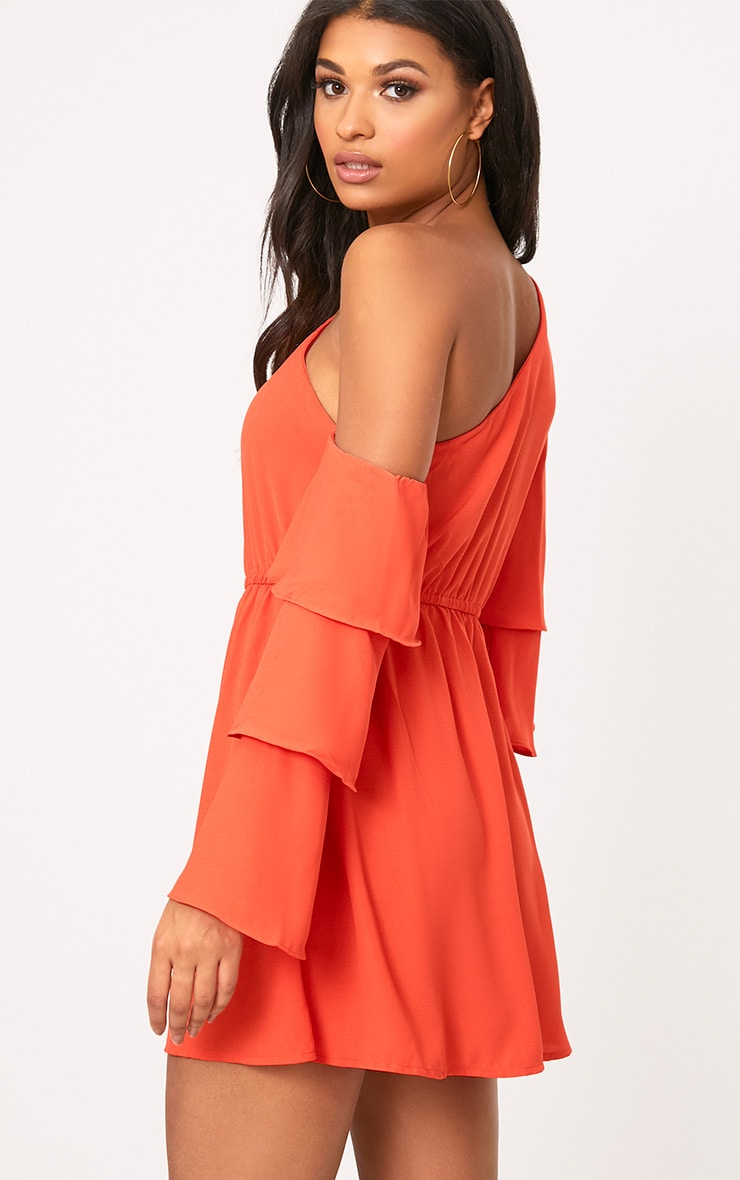 Camarah Coral One Shoulder Frill Sleeve Swing Dress 2