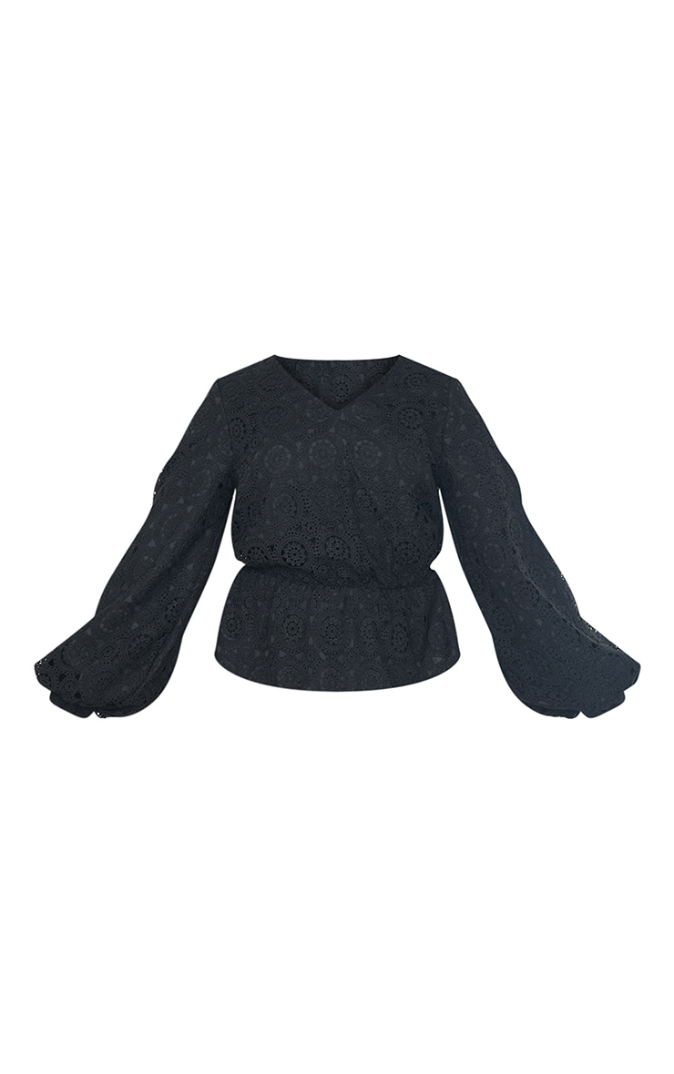 Black Premium Crochet V Neck Peplum Blouse 5