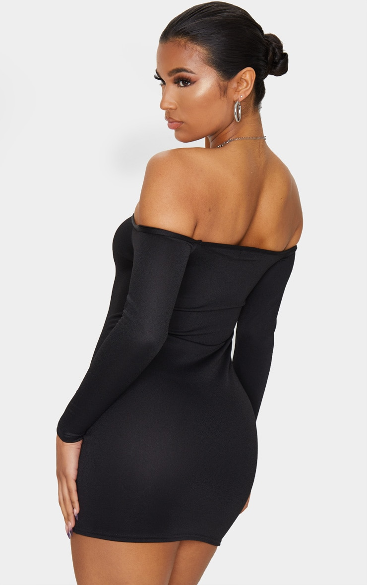 Black Choker Detail Bardot Bodycon Dress 2