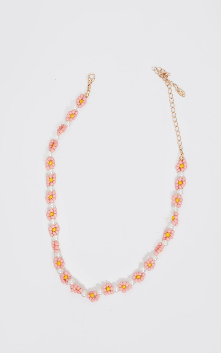 Pink Beaded Flower Necklace 3