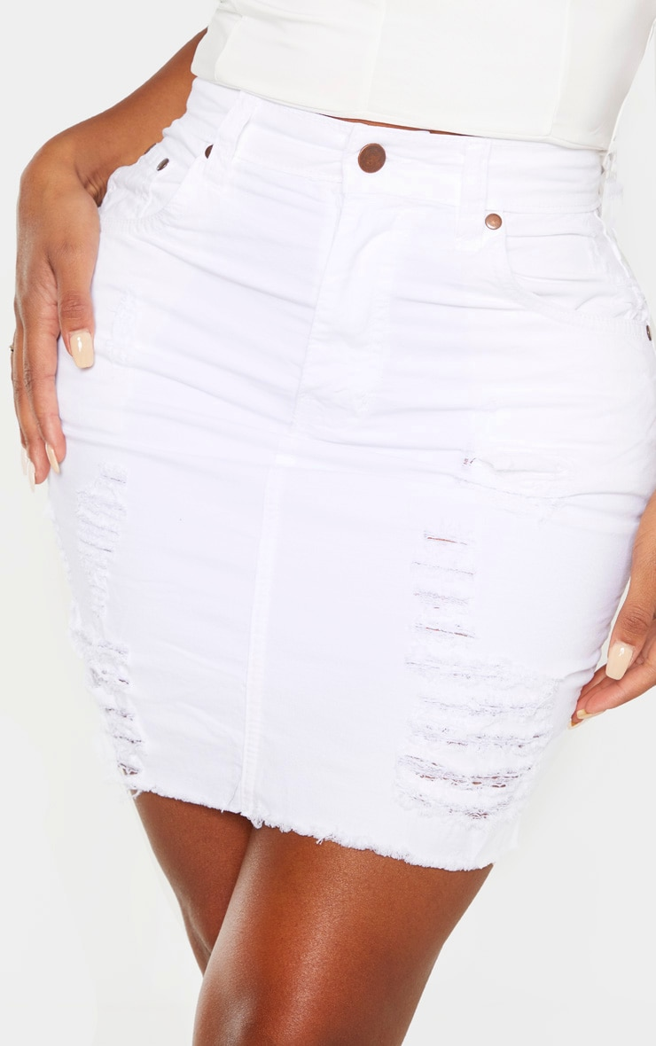 Shape White High Waist Distressed Denim Skirt 5
