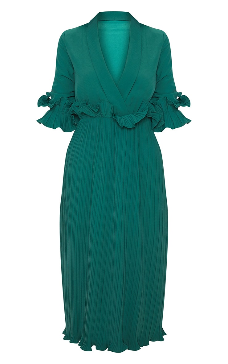 Emerald Green Frill Detail Pleated Midi Dress 3