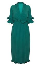 Emerald Green Frill Detail Pleated Midi Dress 3