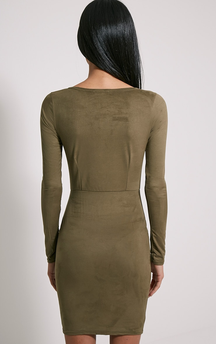 Solita Khaki Faux Suede Lace Up Mini Dress 2