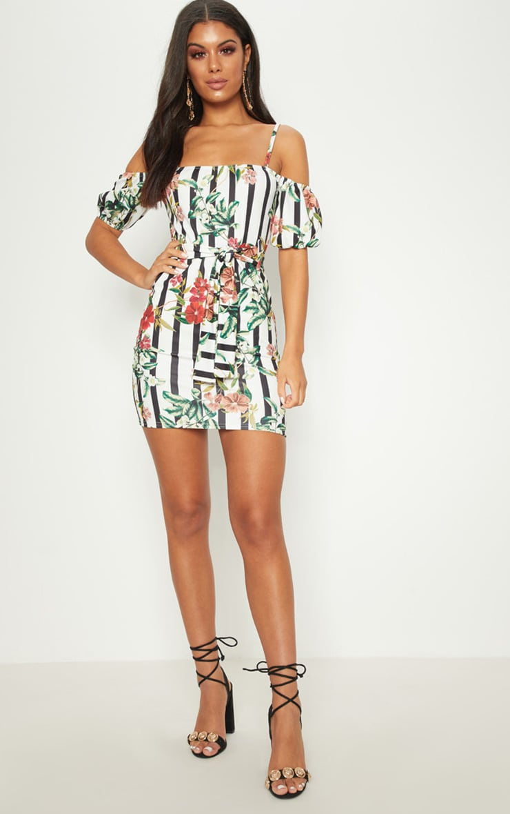 White Floral Stripe Printed Puff Sleeve Bodycon Dress 3