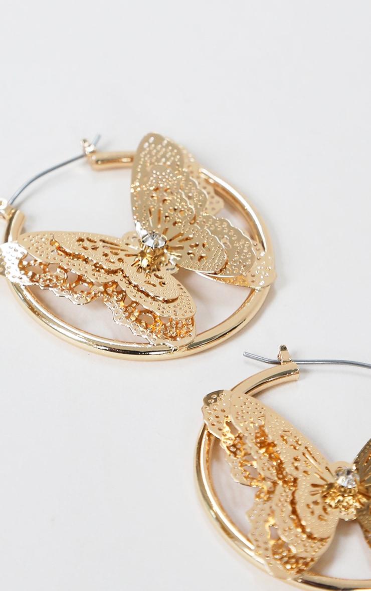 Gold Diamante Butterfly Hoop Earrings 2