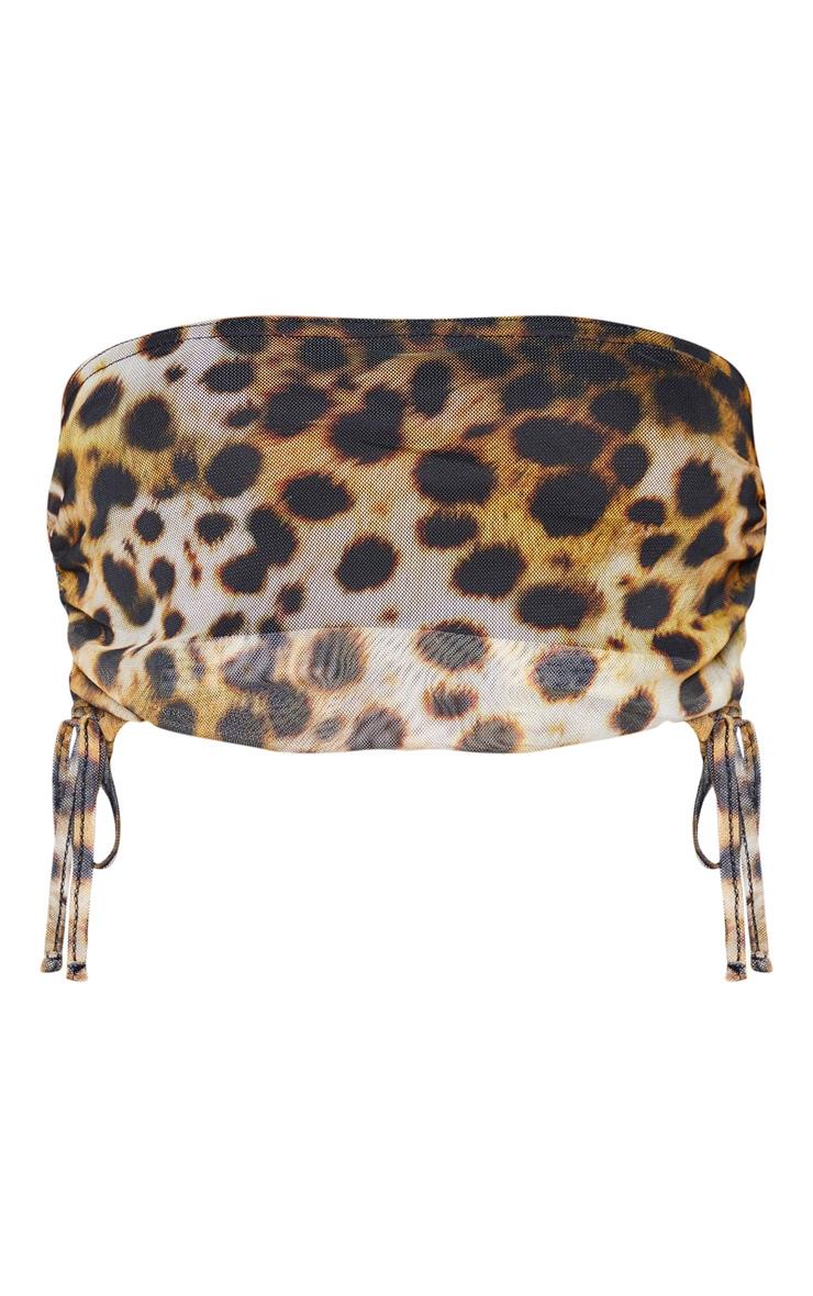 Shape Brown Leopard Print Mesh Lace Up Side Crop Top 5