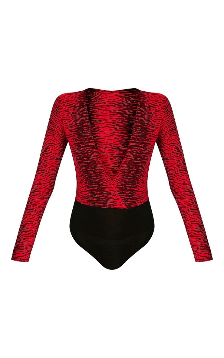 Averill Red Zebra Print Longsleeve Thong Bodysuit 3