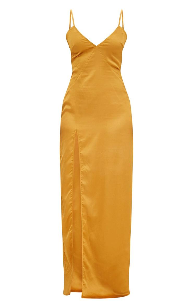 Mustard Satin Strappy Side Split Maxi Dress 3