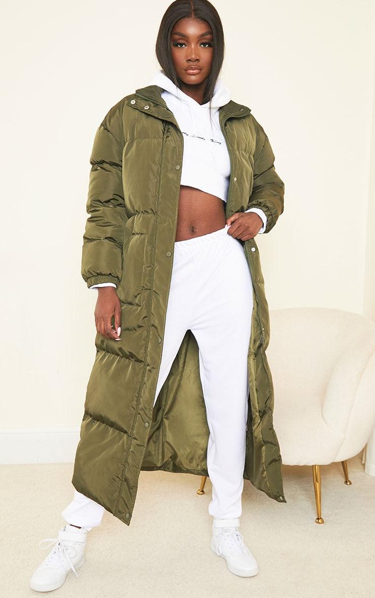 Tall Khaki Maxi Puffer Coat 1