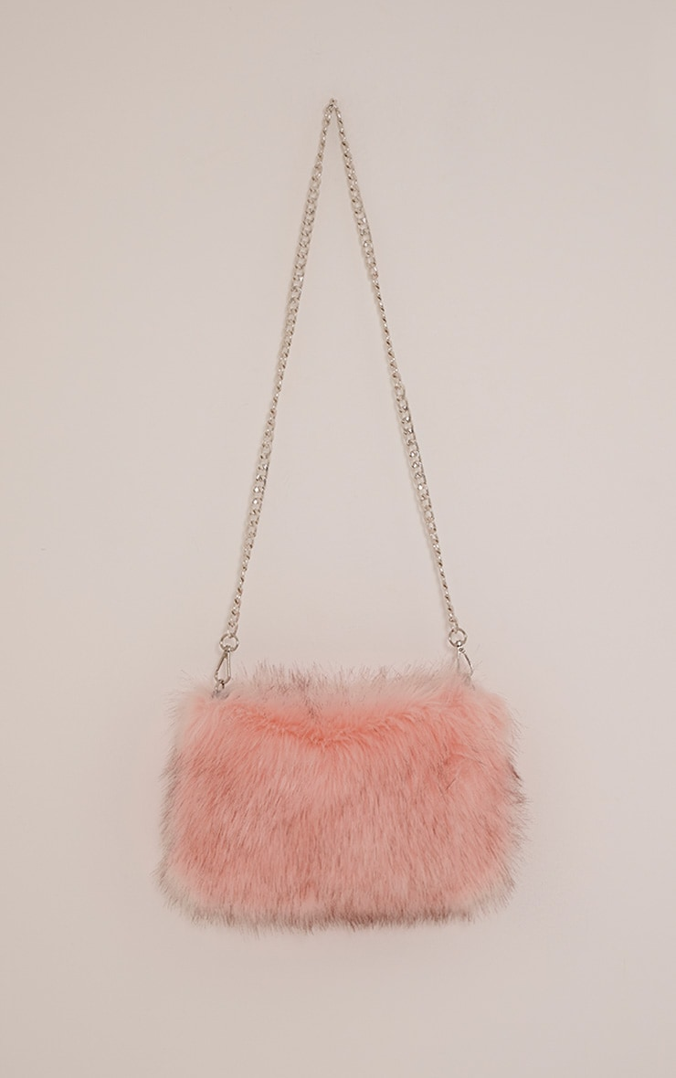 Christah Baby Pink Faux Fur Chain Shoulder Bag 1
