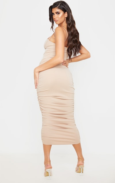 Taupe Strappy Ruched Midaxi Dress