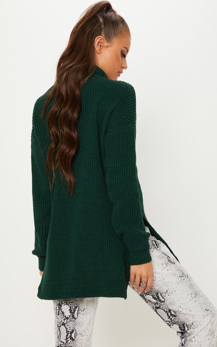 Bottle Green High Neck Oversized Jumper  2