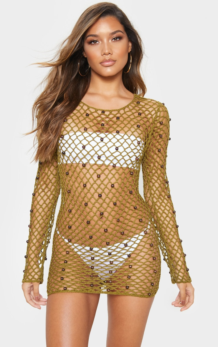 Khaki Beaded Crochet Long Sleeve Knit Dress 1