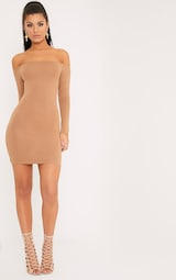 Basic Camel Bardot Bodycon Dress 4