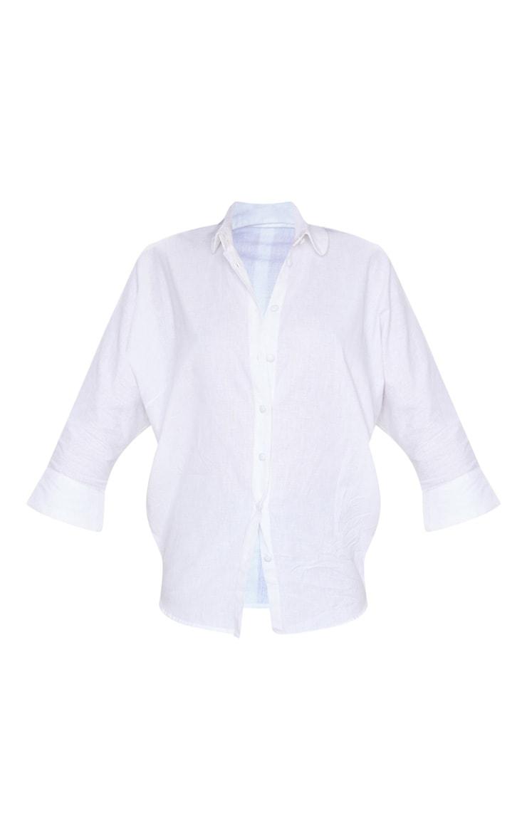 White Linen Oversized Shirt 5