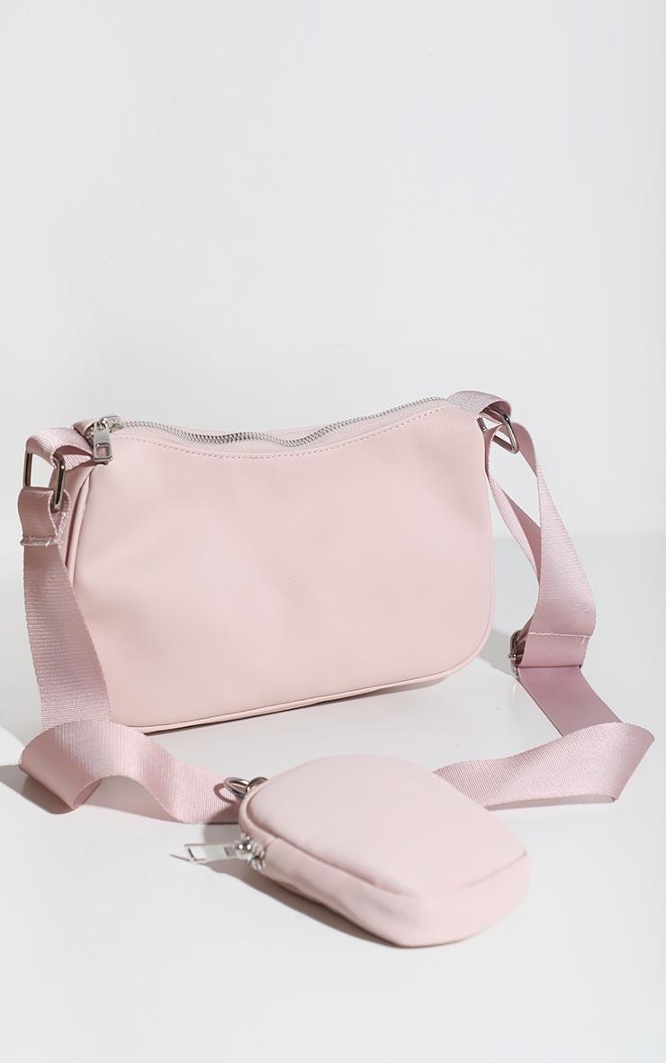 Baby Pink Multi Pocket Cross Body Bag 3