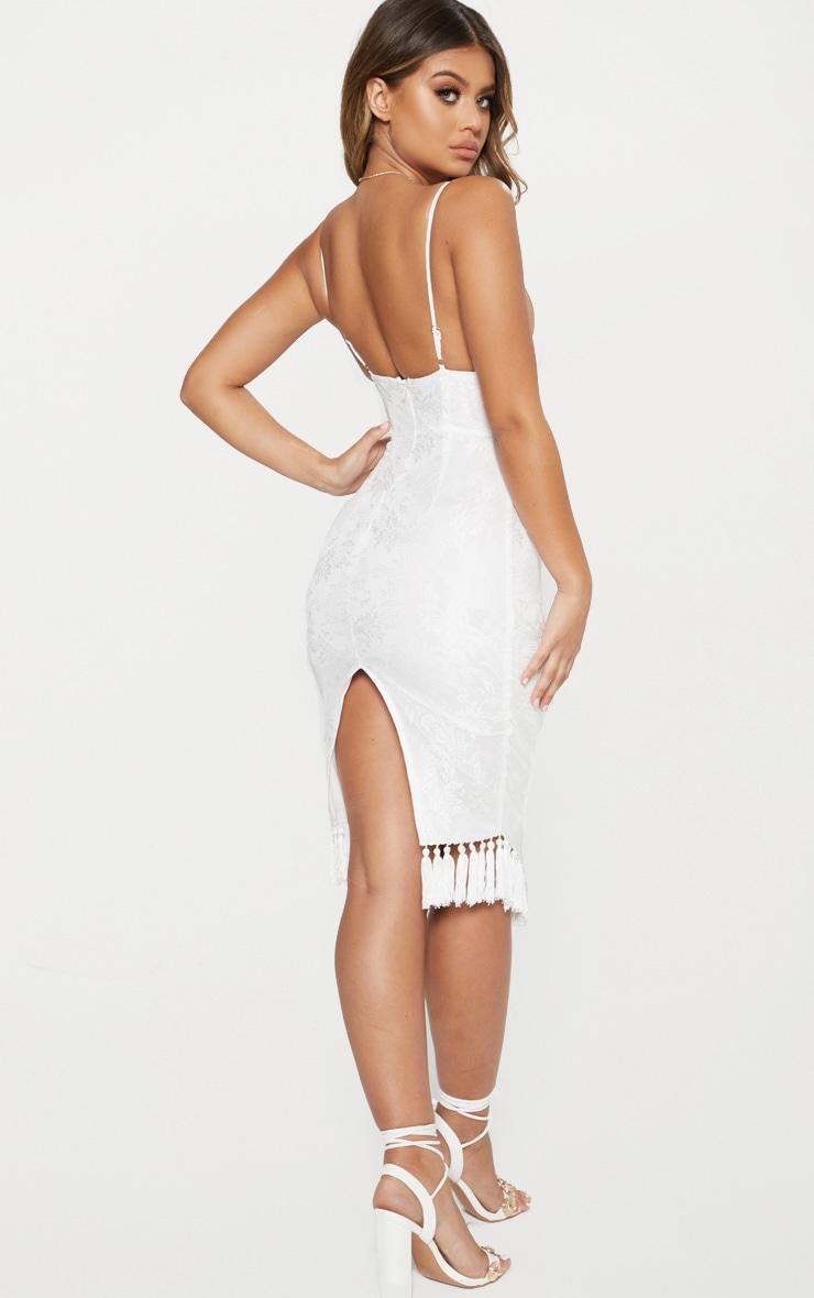 White Lace Tassel Trim Plunge Midi Dress 2