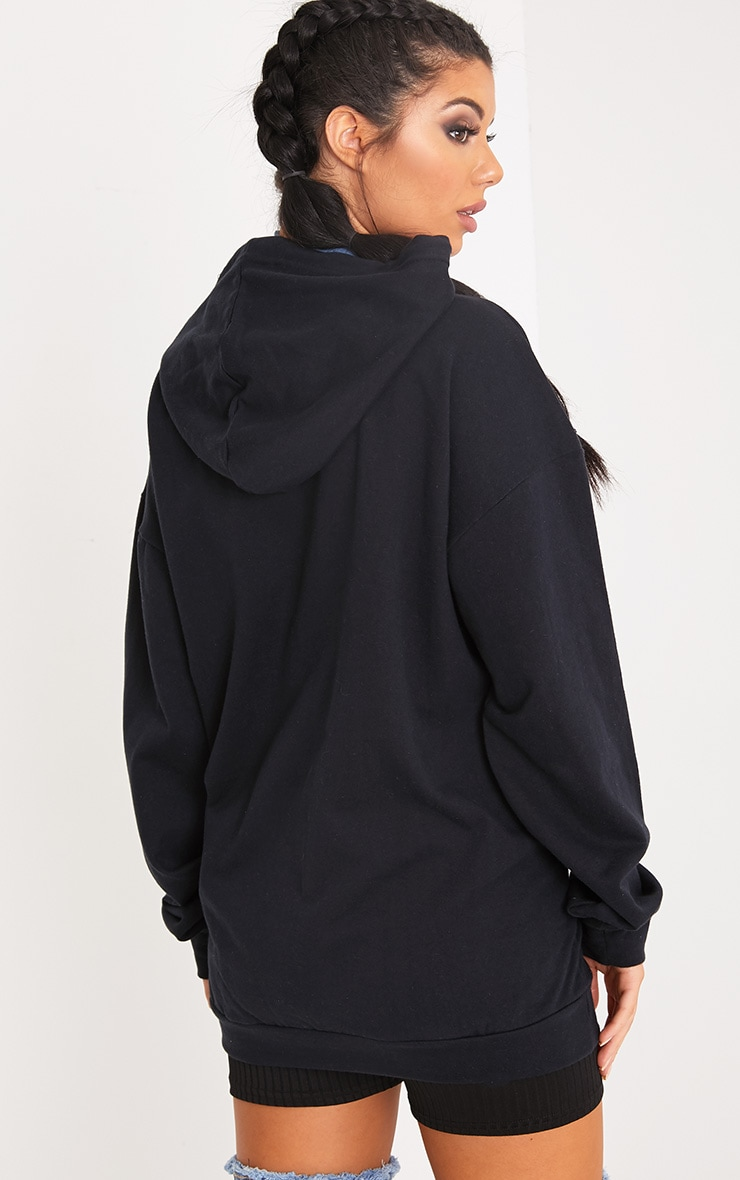 PRETTYLITTLETHING Black Corset Detail Oversized Hoodie 5