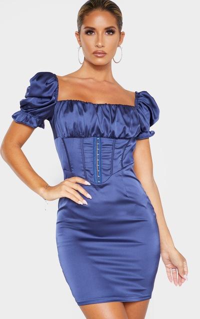 Midnight Blue Satin Puff Sleeve Hook & Eye Panelled Bodycon Dress