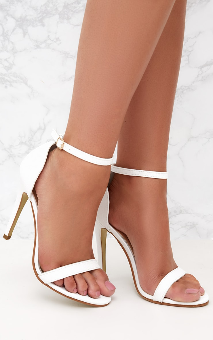 White Snake Print Strap Heeled Sandals  1