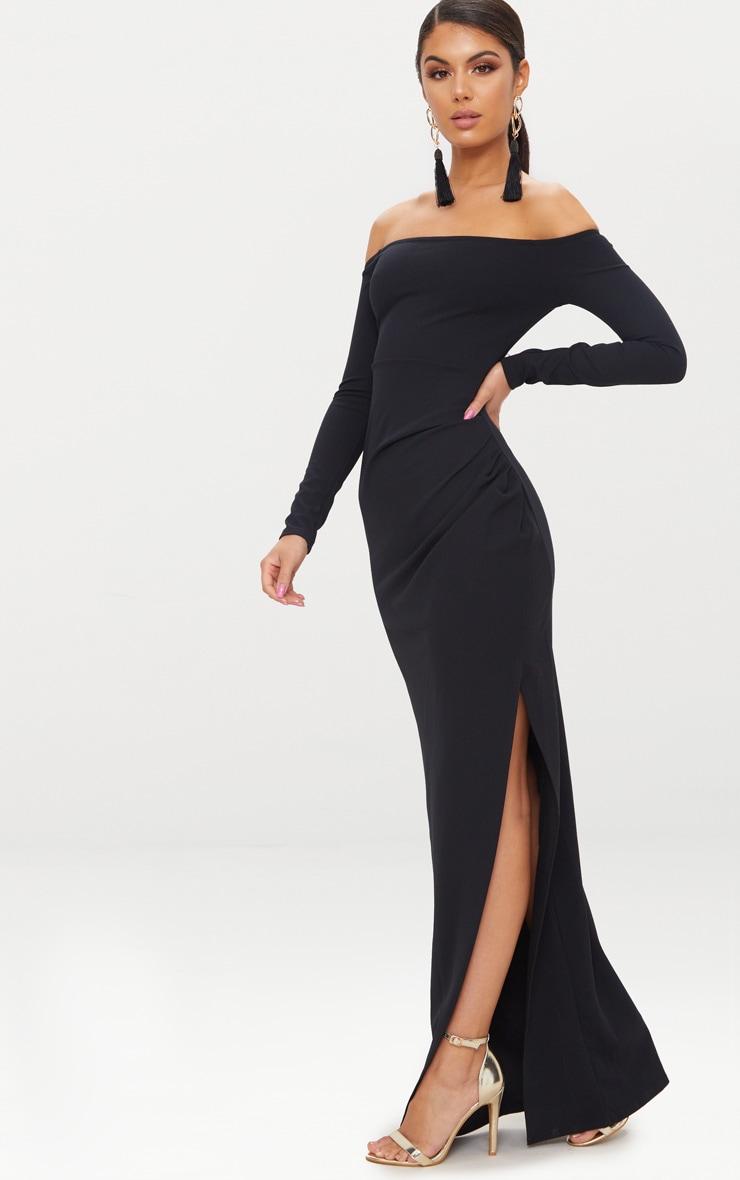 Black Wrap Over Long Sleeve Bardot Maxi Dress 4