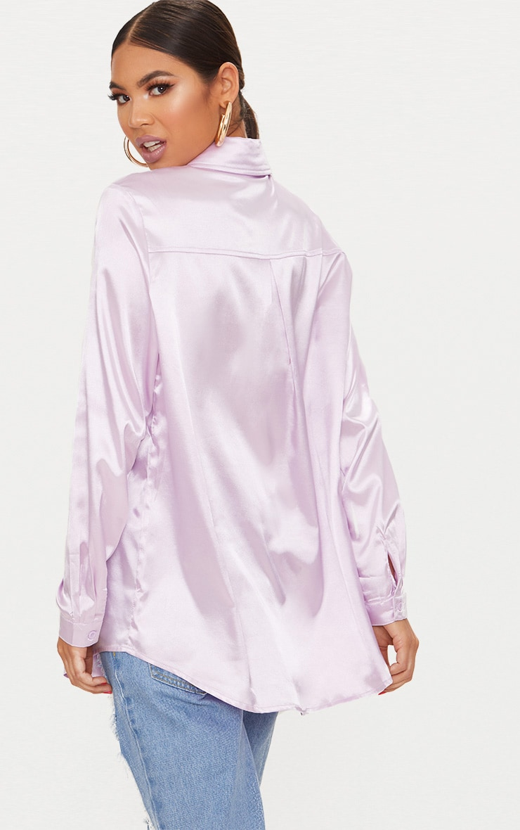 Pastel Lilac Satin Button Front Shirt Pretty Little Thing View For Sale D9Su97vvw