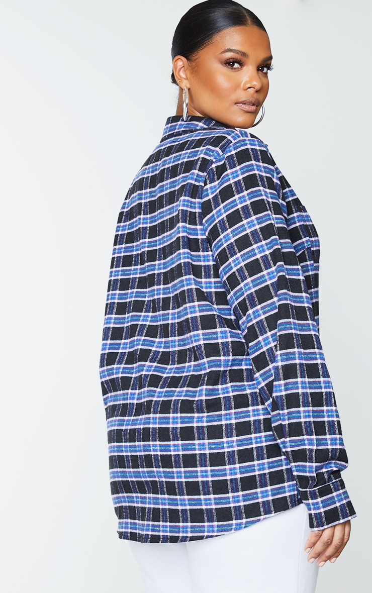 Plus Navy Blue Tartan Oversized Shirt 2