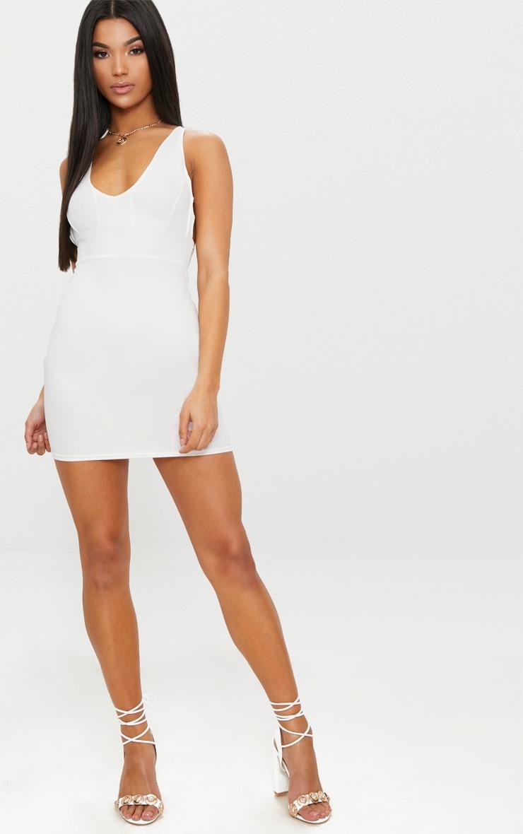 White Halterneck Strap Detail Bodycon Dress 4