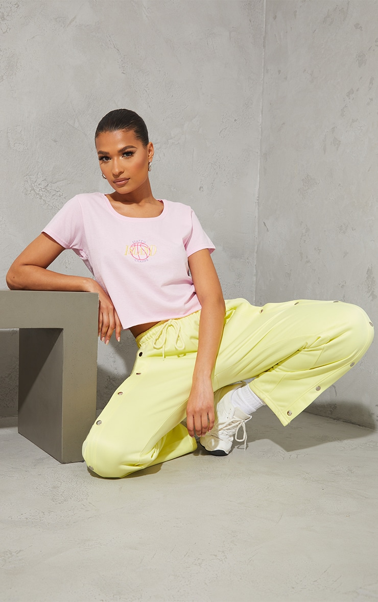 Baby Pink Staten Island Champs Embroidered Crop T Shirt 3