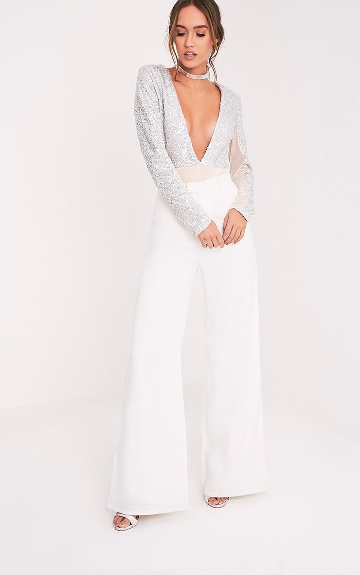 Kimberlyn Silver Sequin Plunge Mesh Thong Bodysuit 6