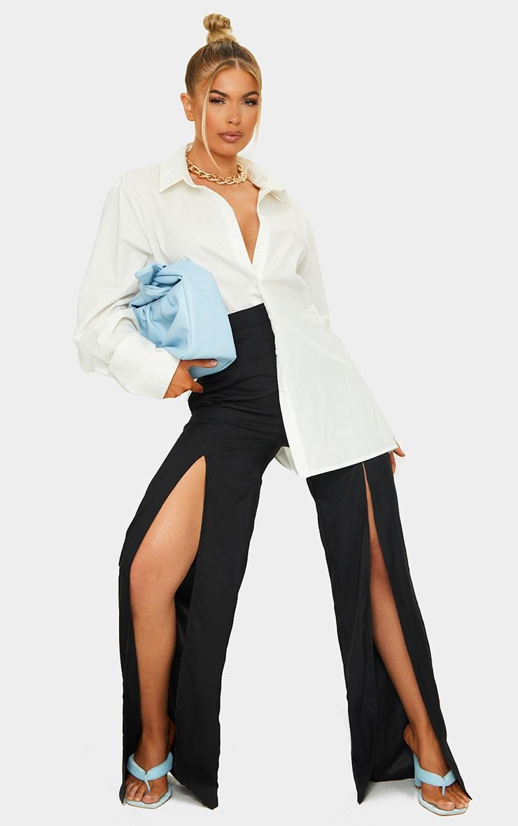Black Split Leg Woven Wide Leg Pants 1